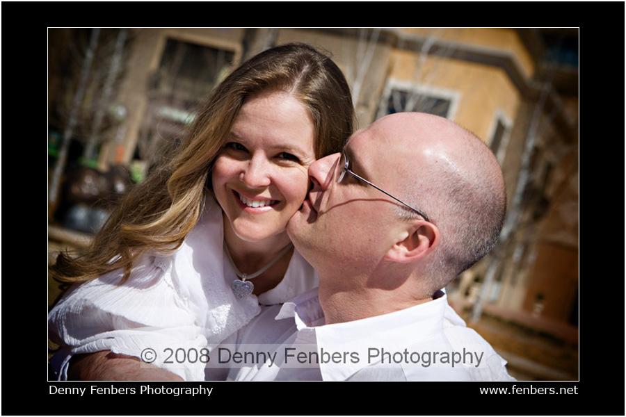 Engagement Kiss on the Cheek, Denver Colorado