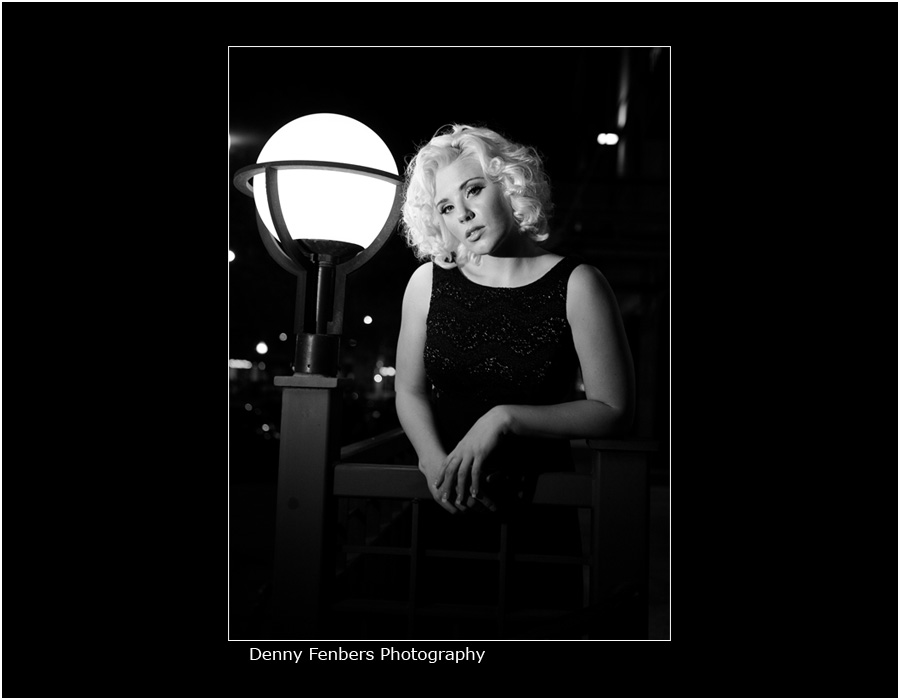 Black and White Night Portrait Photography in Denver