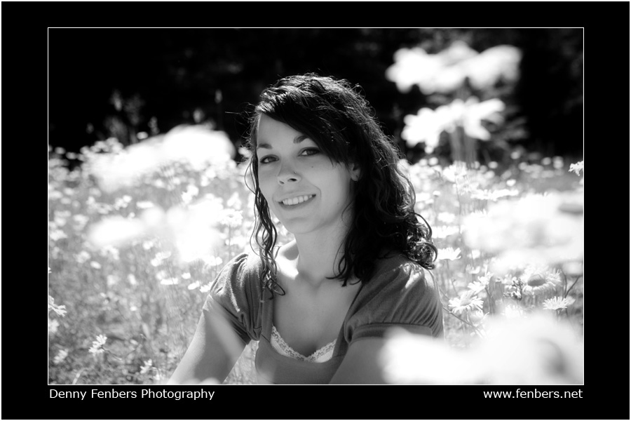 Senior Portrait black and white in flowers